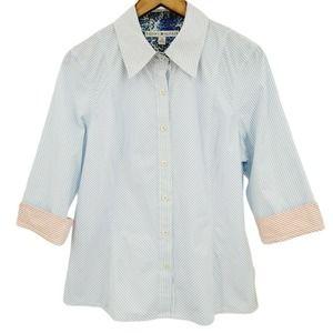 Tommy Hilfiger Striped 3/4 Sleeve Button Up Shirt